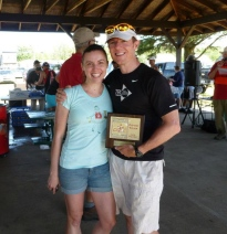 Michael K. Farrell and I proudly accepted the award for 1st Place Co-Ed Relay. (I wanted to tell everyone it was the Cutest Couple award, but Michael K. Farrell wouldn't let me—he thinks I need to be more modest.)