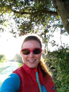 My first run on the Los Gatos Creek Trail in sunny California! It was too warm for this vest, but I need the extra pockets. in the vest, so I