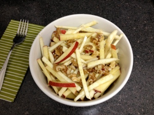 Celery root and apple slaw with mustard vinaigrette and walnuts—yum!