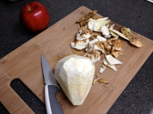 Slice away the outer layer of celery root to find a fleshy, white center that tastes like celery. (No surprise there.)