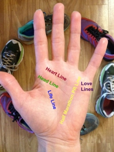 The lines don't lie! My hand clearly shows a successful half marathon in my future.