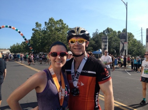Michael K. Farrell tackled the 22-mile bike ride while I ran. Good times!