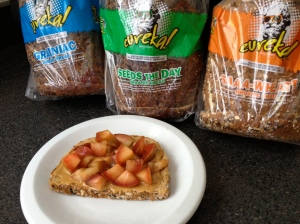 Jelly is full of added sugar, so I top a slice of Eureka! Saaa-Wheat Organic Bread with all-natural peanut butter and fresh nectarine pieces instead.