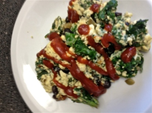 One of my favorite dishes: Sautéed kale and scrambled with eggs and black beans, topped with ketchup. All organic—natch!