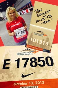 "Tori Sager of Fellow Flowers was ""red""y to run the 2013 Chicago Marathon!"