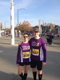 Running the SV Turkey Trot San Jose-style—people wear the shirt for the race during the actual event out here!