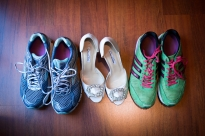 running shoes and wedding shoes